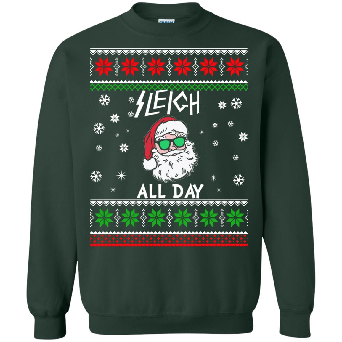 Green Day Christmas Sweater.Santa Sleigh All Day Christmas Sweatshirt