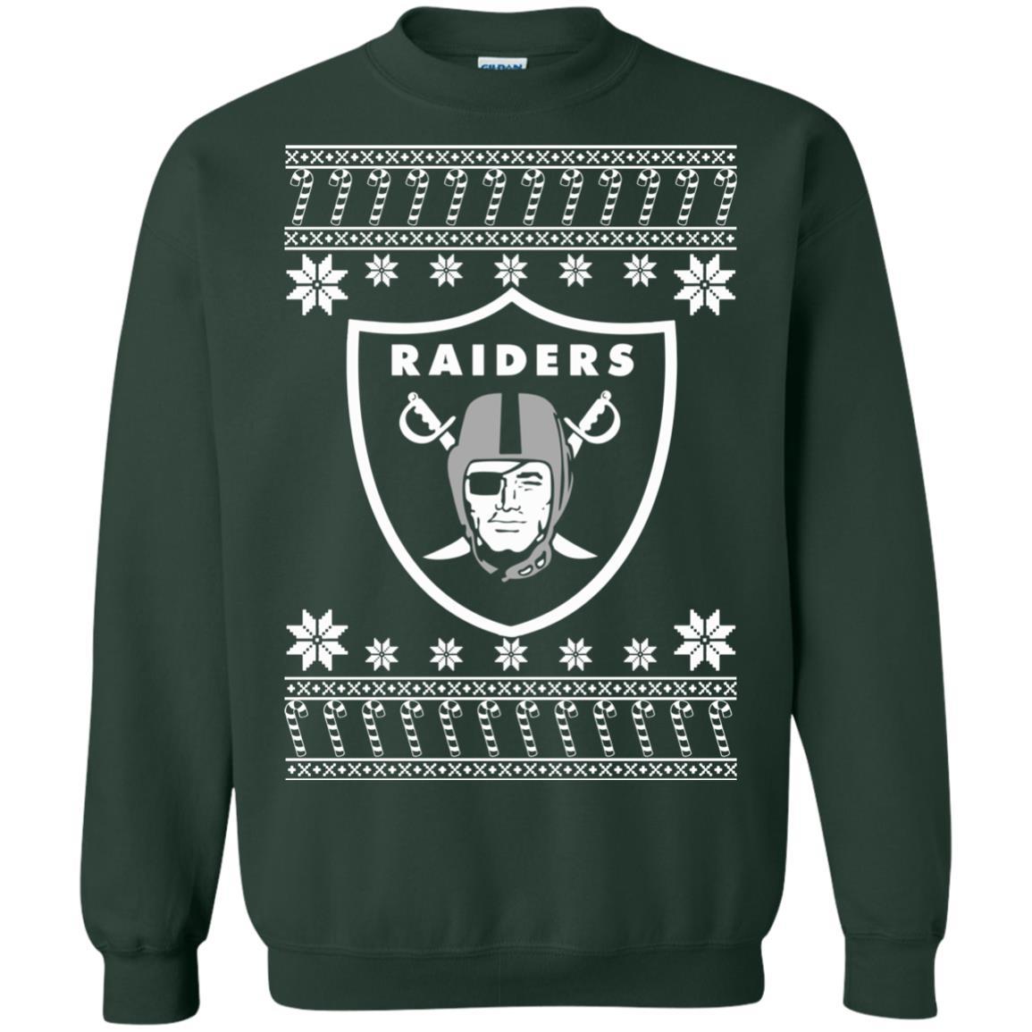 Oakland Raiders Christmas Ugly Sweater T Shirt Long Sleeve