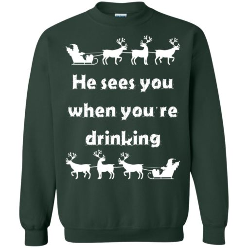 He sees you when you're drinking Christmas sweater shirt - image 1291 510x510