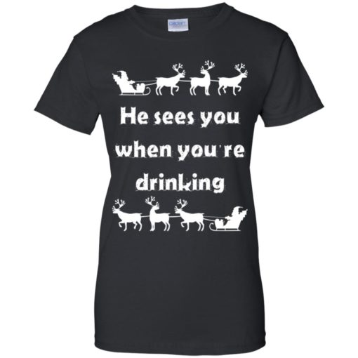 He sees you when you're drinking Christmas sweater shirt - image 1293 510x510