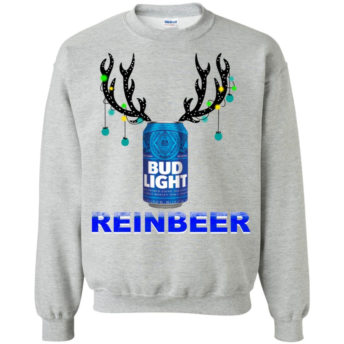 Reinbeer Bud Light Christmas Sweatshirt Hoodie Long Sleeve Ladies Tee