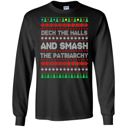 Deck the halls and smash the patriarchy Christmas sweater shirt - image 700 510x510