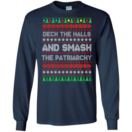 Deck the halls and smash the patriarchy Christmas sweater shirt - image 701 510x510