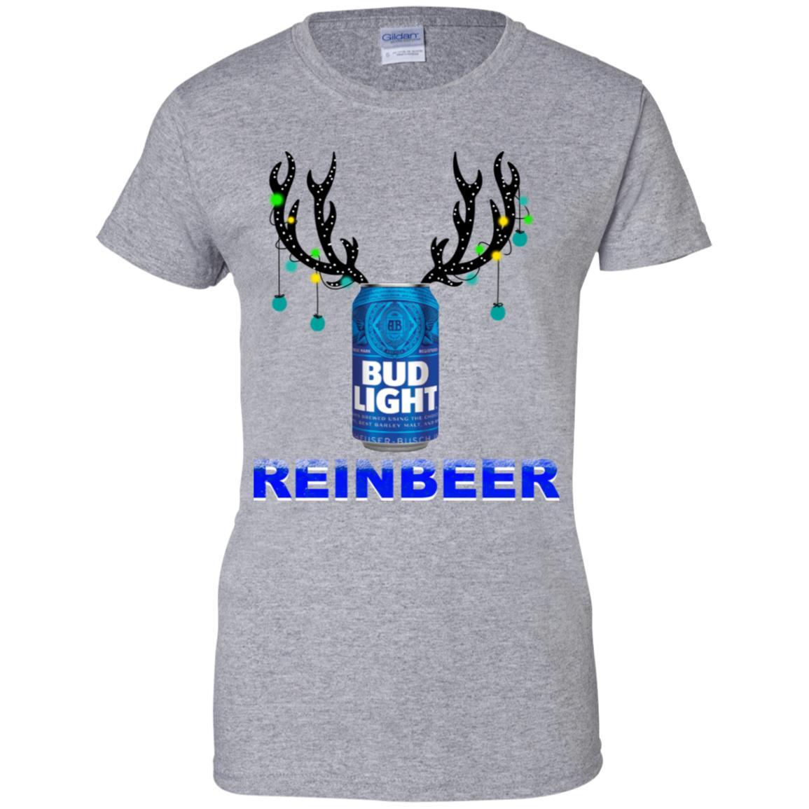 Bud Light Reinbeer Christmas Sweatshirt Hoodie Long Sleeve Ladies Tee