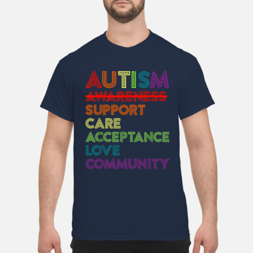 Autism awareness support care acceptance love community shirt shirt - autism awareness support shirt men s t shirt navy blue front 1 510x510
