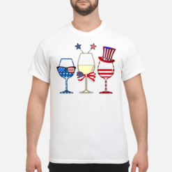 4th July three glasses of wine American flag shirt shirt - 4th july three glasses of wine american flag shirt men s t shirt white front 1 247x247