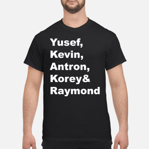 Yusef Kevin Antron Korey and Raymond shirt shirt - yusef kevin antron korey and raymond shirt hoodie men s t shirt black front 1 510x510
