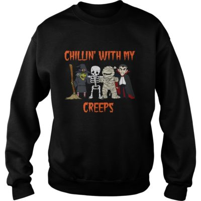 Chillin With My Creeps Vampire Halloween Skeleton Witch shirt shirt - This shirt so funny for Halloween coming soon. If you are looking for a new shirt for Hallo 400x400