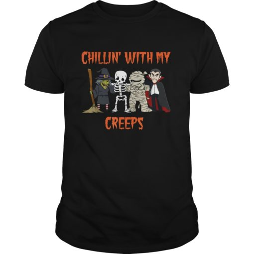 Chillin With My Creeps Vampire Halloween Skeleton Witch shirt shirt - This shirt so funny for Halloween coming soon. If you are looking for a new shirt for Halloween 510x510