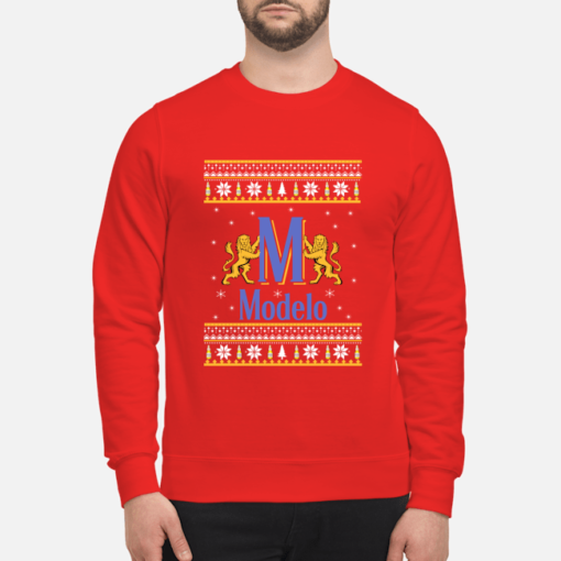 Modelo Beer Ugly Christmas sweatshirt shirt - modelo beer ugly christmas sweater unisex sweatshirt fire red front 510x510