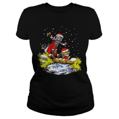 Baby Yoda Star Wars Walking Under The Snow Christmas shirt shirt - Baby Yoda Star Wars Walking Under The Snow Christmas shirtv 400x400