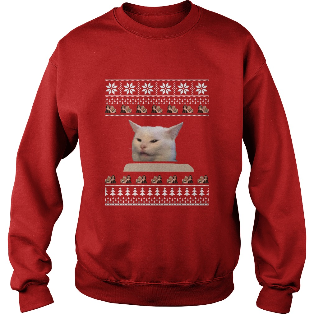 Cat Meme Woman Yelling At Table Christmas Sweater