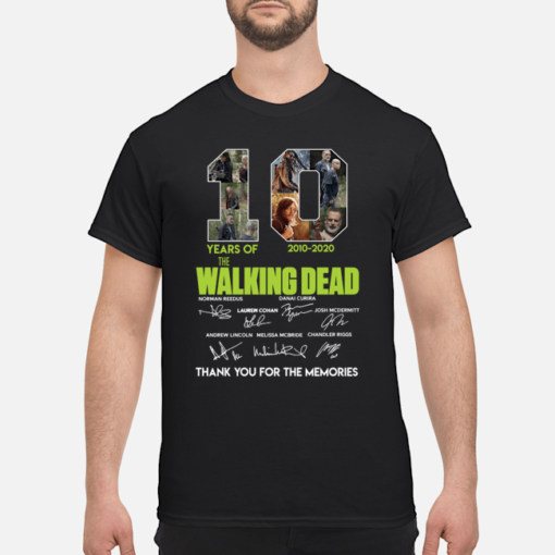 10 years of The Walking Dead 2000-2020 signature shirt shirt - 10 years of the walking dead 2000 2020 signature shirt men s t shirt black front 1 510x510