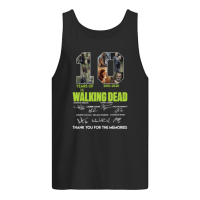 10 years of The Walking Dead 2000-2020 signature shirt shirt - 10 years of the walking dead 2000 2020 signature shirt men s tank top black front 400x400